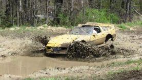 Yellow C4 Corvette Mudding At Walton Mud Bog