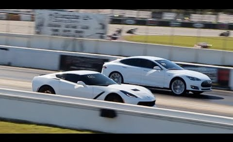 Tesla Model S P85D races C7 Corvette Stingray | 1/4 mile Drag Racing