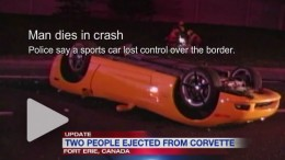 Man dies in Corvette crash across the border