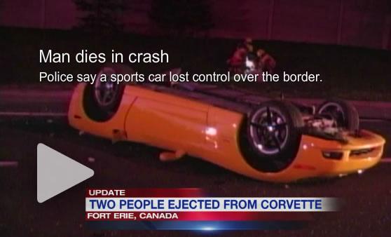 Man dies in Corvette crash across the border