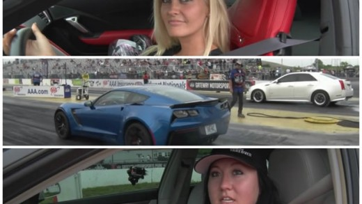 Blonde in a 2015 Corvette Z06 Drag Races a Brunette in a Cadillac CTS-V
