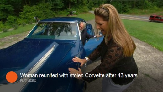 Woman reunited with Corvette 43 years after it was stolen