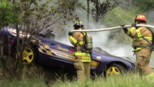 1998 Chevrolet Corvette Driver Narrowly Escapes Fiery Wreck