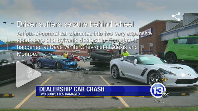 Pair of Parked 2015 Corvette Z06 Coupes Damaged in Accident