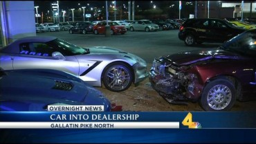 Two Corvettes Damaged after Car Crashes Into Dealership