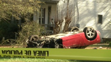'Car was spinning in the air,' witness says after Corvette lands in yard