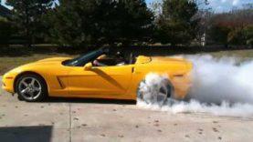 C6 Corvette Burn out!  Flames!