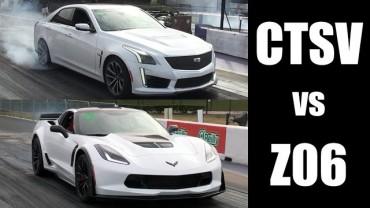 2016 C7 Corvette Z06 vs 2016 Cadillac CTS-V At The Dragstrip