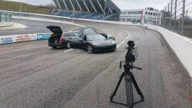 Remote controlled Corvette doing Crazy Drifting Donuts on circuit RC Corvette C6 burnouts