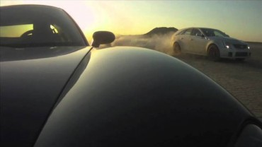 CTS-V versus C6 Corvette Drag Race at El Mirage Dry Lake Bed
