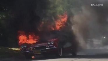 Classic Corvette Catches Fire in Encino California