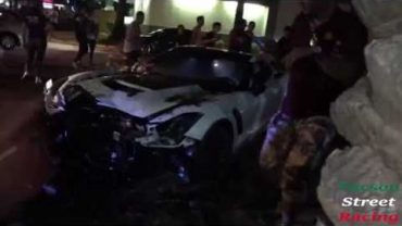 Corvette Z06 Filmed Crashing Into Tree While Leaving Scottsdale Car Meet