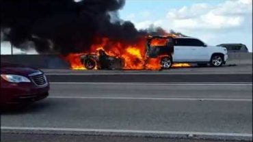 C6 Corvette catches fire after rear end crash Tuesday 10.20.2015