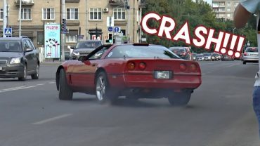 C4 Corvette Crashes Into Bus Stop Leaving Car Event In Lithuania