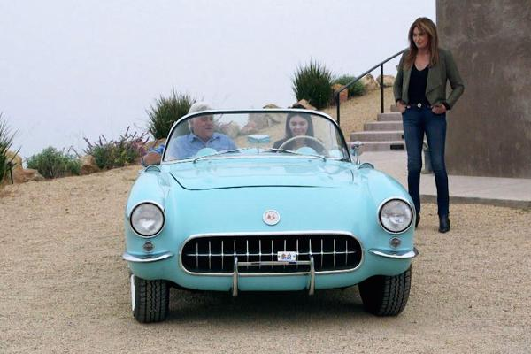 Supermodel Kendall Jenner takes Jay Leno for a spin in her 1956 Corvette