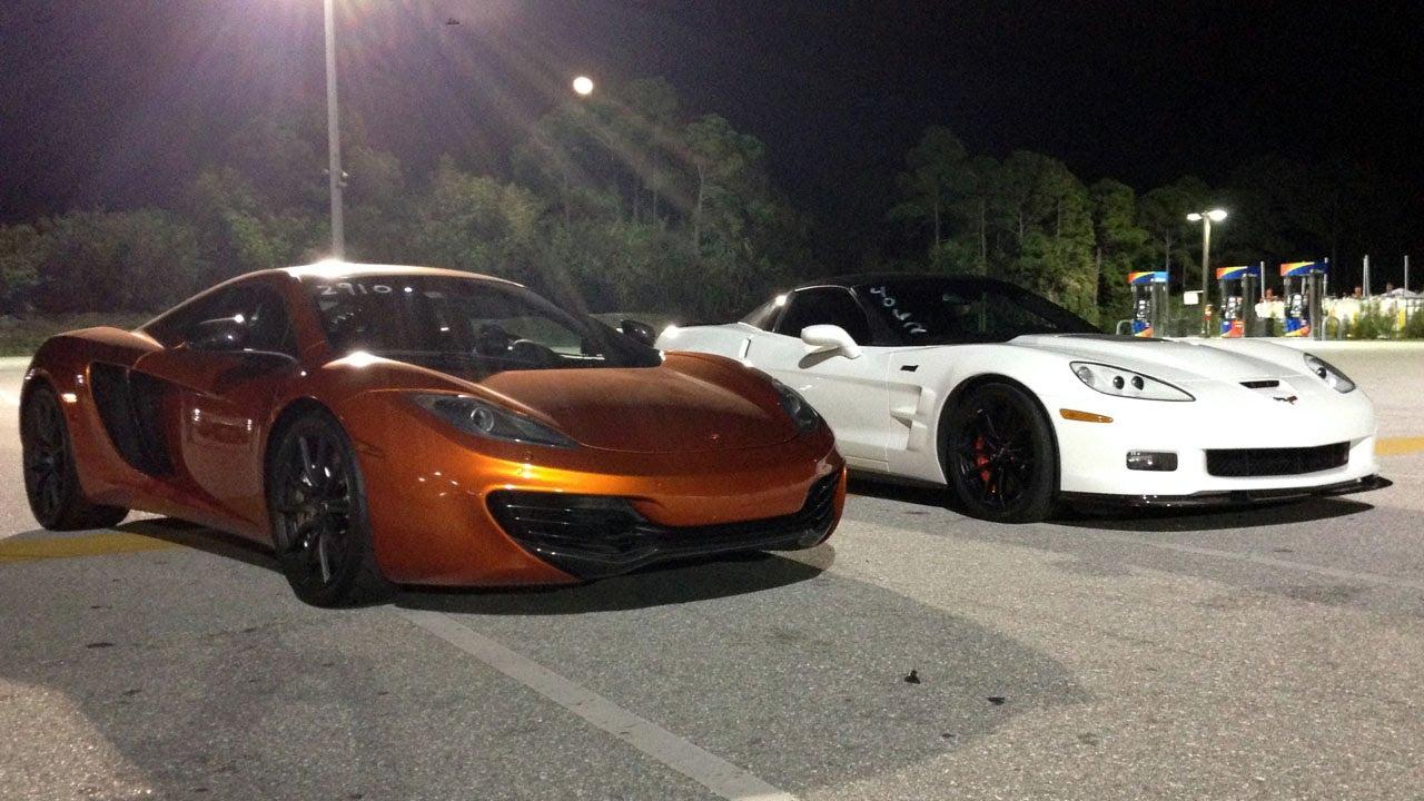2012 McLaren MP4-12C vs 2012 Chevrolet Corvette ZR1 Drag Racing 1/4 Mile