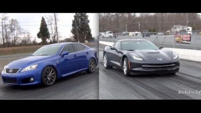 2014 C7 Corvette vs Lexus IS-F Drag Racing