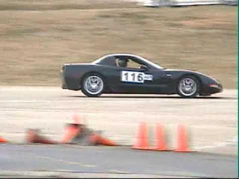 C5 Corvette Z06 drifting at an autocross angering old rednecks