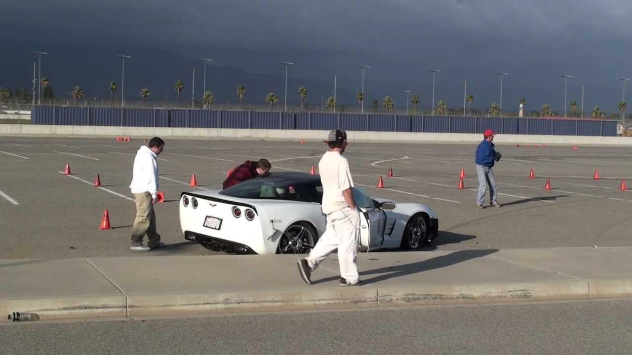 C6 Corvette Crashes During An AutoCross Event