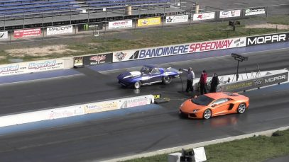 Corvette Stingray DESTROYS Lamborghini Avendor – Drag Racing Fail – Bandimere Speedway