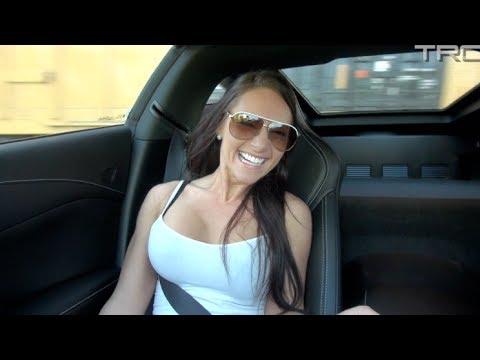 Sexy girl rides in C7 Corvette Stingray!