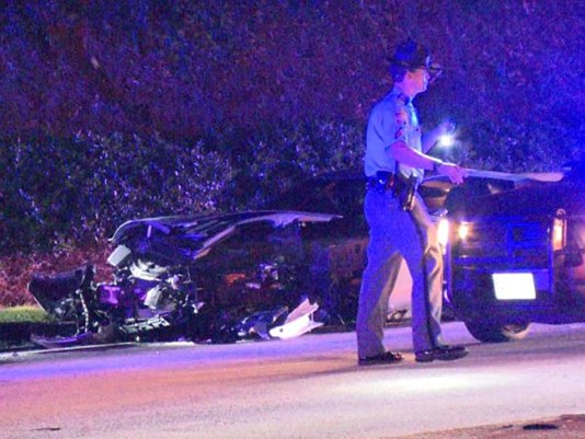 The aftermath of a GSP Corvette chase and crash near the Buckhead area of Atlanta on Aug. 6, 2016. (Photo: Gary Stilwell, WXIA)